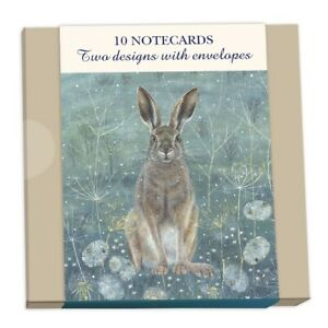 10 Square Notecards and Envelopes Blank Inside (Hare & Owl)