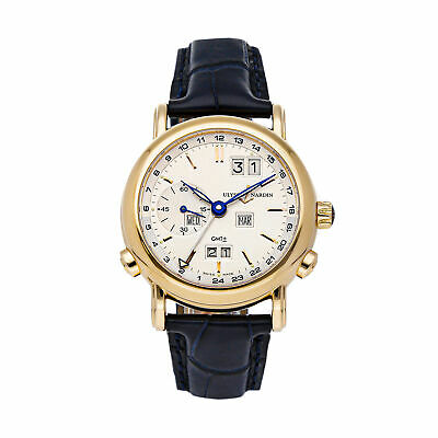 Ulysse Nardin GMT +/- Perpetual Auto Rose Gold Mens Strap Watch Date 326-22