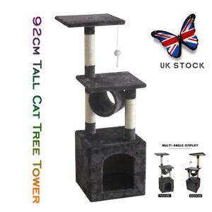 Cat Tree Tower Kitten Activity Centre Nest Scratcher Pet Scratch Post 92cm Tall
