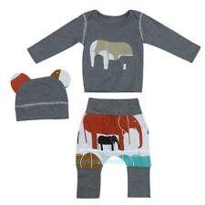 3pcs Baby Kids Elephant Long Sleeved Coat Tops +Long Pants+Hat Outfit Clothes