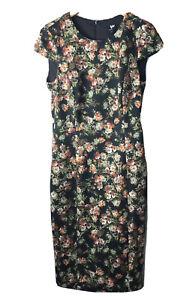 w worth dress Floral Print Neoprene Cap Sleeve Brown Sheath Women Size 6 NWT