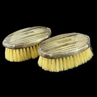 Vintage Pair (2) Webster Company Sterling Silver Repousse Baby Brushes Vanity