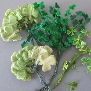 Lot Vintage CRAFT Millinery Ornaments Green SHAMROCKS * Felt VELVET Celluloid