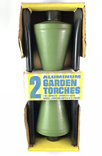 2 Vintage MCM Aluminum LUAU GARDEN TORCHES Patio Products New Green