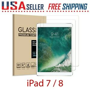 """2 Pack For Apple iPad 8, 7 Gen 10.2"""" Tempered Glass Film Screen Protector Pencil"""