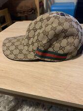 Authentic GUCCI Ebonie/Beige Monogram Canvas Web Baseball Cap Hat