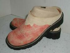 Ariat Paddock Womens Sz 7 B Clogs Western Cowgirl Slip On pink tan suede Leather