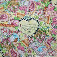 BonEful Fabric BTY Cotton Quilt White Pink B&W Heart Country Flower Girl Garden