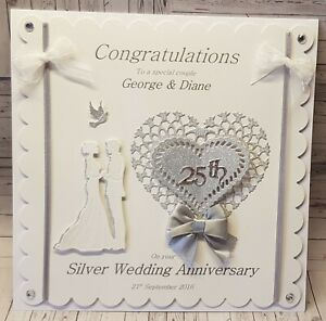Large Luxury 8x8 inch Personalised 3D Silver 25th Wedding Anniversary Card