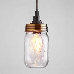 Vintage Lamps Set, M.Mason Ball Einmachglas, E14, Zugentl. Bronzed O. Cable