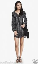 NWT EXPRESS women printed lace-up long sleeve drop waist dress Polyester S/P