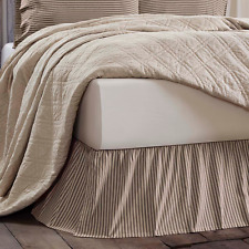 KENDRA STRIPE BLACK Queen Bed Skirt French Country Ticking Stripe Farmhouse