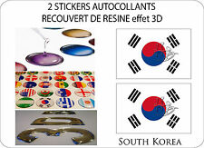 2 X STICKERS COVERED RESINATED WINE FLAG 3D EFFECT 70 mm X 50 mm SOUTH KOREA