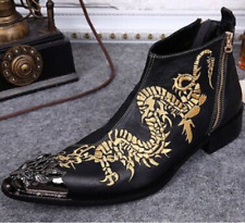 UK Mens Punk Leather Ankle Boots Embroidery Chinese Dragon Metal Toe Dress Shoes