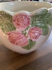 Beautiful Pale Pink & White, Rose Decorated, Ceramic Flower Pot