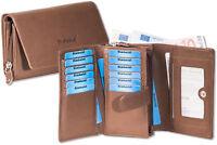 Rimbaldi® Damen Geldbörse mit viel Platz aus naturbelassenem Leder in Braun