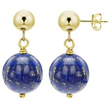 Stud Ball Earrings 14k Yellow Gold with 8mm Simulated Blue Lapis Gemstone