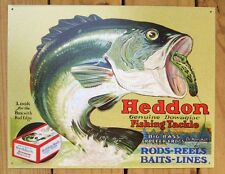 Heddon Frogs Fish Tackle Dowagiac TIN SIGN bass metal decor vtg ad lure DS#1005