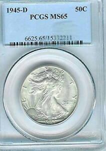 1945-D Walking Liberty Half Dollar PCGS MS65 100% White
