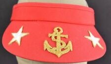 Red Handmade US Marines Anchor Embroidered Visor hat cap adjustable
