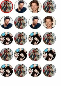 20 One direction rice paper cup cake toppers.