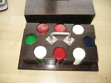 Vintage large wooden counter box with 190 coloured counters