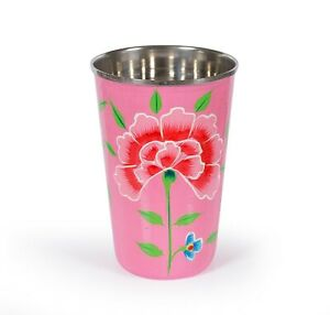Indian Handmade Glassware Decor Hand Painted Kitchenware Stainless Steel / Glass