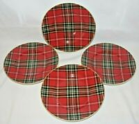 222 Fifth Wexford Red Tartan Plaid Salad Plates Set of Four (4) New