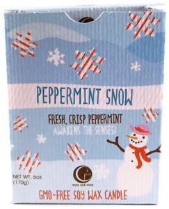 Way Out Wax Peppermint Snow (Holiday)Aromatherapy Candle Clear Glass Tumbler~6oz