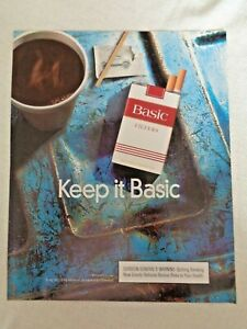 1998 Magazine Basic Filters Cigarettes Tobacco Print Ad Keep it Basic Coffee Cup