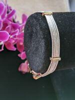 """Vintage Napier Multi-strand Liquid Silver Bracelet Two Tone 7.5"""" Unique Style"""