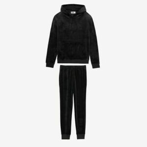 Fila Men's Velour Sweatsuit Hoodie Tracksuit Black Velvet Sizes M and XL NWT