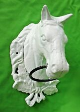 More details for old vintage wall mounted cast iron equestrian horse head tethering ring