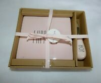 """Rae Dunn Pink W/ Black LL """" HIPPITY """" Square Cheese Plate W/ HOP Spreader NEW"""