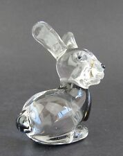 Clear Glass Rabbit Figurine Miniature,  4.5cm High Boxed Black Highlights