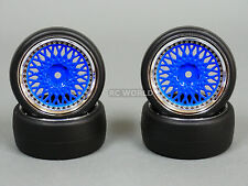 RC Car 1/10 DRIFT WHEELS TIRES Package 3MM Offset BBS Style Rims BLUE Closed