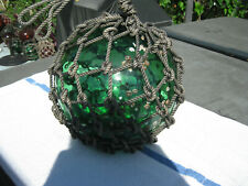 Japanese Glass Fish Floats - Emerald Green with Barnacles- Large