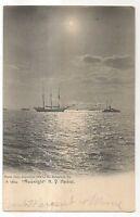 Moonlight over the New York Harbor, NY 1907 Rotogrpah UDB Schooner Postcard