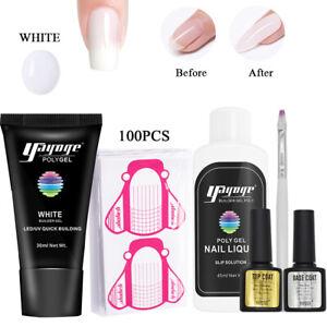 White Color Poly Gel Set Quick Extension Builder Nail Polish Gel Peper Holder US