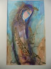 Cuban Artist Charo Hand SIGNED ORIGINAL PAINTING LADY IN THOUGHT BLUE PURPLE Y