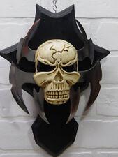 12'' Skeleton Head Dagger Skeleton Knife on Plaque Wooden Display Home Decor