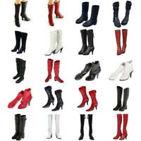 Mid-calf High-heeled Boots Shoes for 1/6 Scale Female 12'' Action Figure Toy