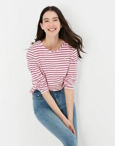 Joules Womens Lottie Long Sleeve Classic Crew Top - Pink Stripe