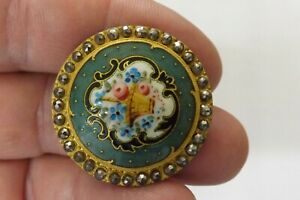 RARE ANTIQUE FRENCH ENAMEL AND CUT STEEL BUTTON GOOD CONDITION 3.25CMS (3393)