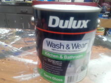DULUX 4 LITRE WASH-WEAR INTERIO KIT&BATHROOM SEMI-GLOSS VIVID-WHITE colour paint