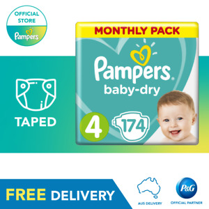 Pampers Baby-Dry Taped Nappies Size 4 Toddler, 174 Pack, 9-14kg, Monthly Pack