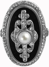 BLACK ENAMEL PEARL & CRYSTAL RING HALLMARKED 925 SILVER NEW FROM ARI D NORMAN