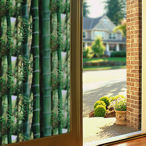 3D Bamboo Privacy Static Stickers Frosted Glass Window Films No Glue Home Decor