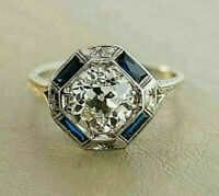 2 Ct Round Cut Diamond Vintage Art Deco Women Wedding Ring 14k White Gold Over