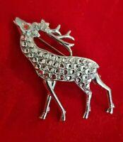 Vintage Stay Bright silvertone deer reindeer stag Brooch Pin red eye